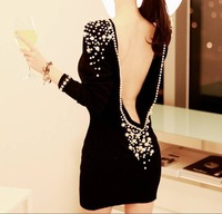 Hot ! Women Sexy Dress Embellished Fancy Plastic Pearls Beaded Backless V-back Short Dress