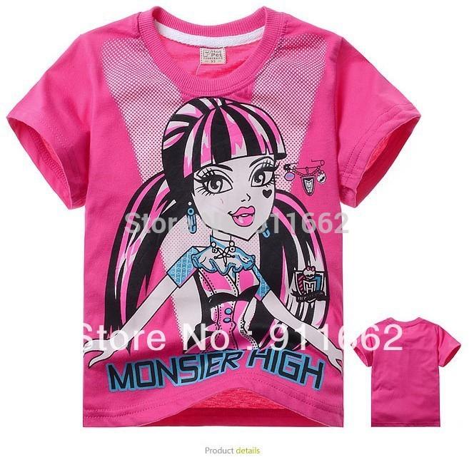 1 niños pc t- shirt( 95- 140) de dibujos animados de verano pantalones cortos monstruo de tapas de alta 2-7yrs 2014 nuevas chicas oh- cuello de algodón rosa casual ropa
