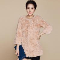 EMS free shipping 2014 new hot sale women's  medium-long three Quarter sleeve O-Neck real rabbit fur coat (M--XXL)