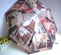 The Elephants elephants oil painting automatic three fold umbrella Free shipping NEW