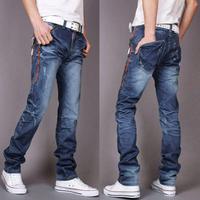 Autumn skinny pants slim straight male long denim jeans trousers