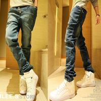 2013 men's Men slim jeans trousers buckle button trousers male jeans