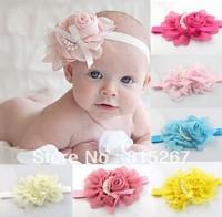 Retail Baby Chiffon Pearl Beaded Headband Kids Rose Satin Bow Headdress Flower Infants Hairband Child Headwear Photography Prop
