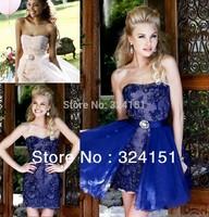 2014 New Arrival  Detachable Organza Royal Blue Short Mini Lace Sexy Celebrity  Cocktail Dresses Prom Party Dress