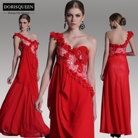 DORISQUEEN Original design free shipping a line lace floor length  beaded one shoulder sexy red prom dress 2014