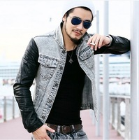 2013 new fashion jackets for men vintage sports motorcycle pu patchwork leather sleeve Denim Jean Jacket Mens winter coat S-XL