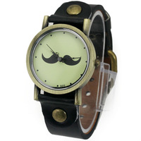 Free Shipping! 1PC Black Big Dial Womens Ladies Girls Students Lovely Black Beard Moustache Analog Quartz Hand Hour WristWatches
