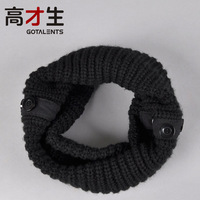 Yarn scarf muffler male winter solid color personalized button collars thermal thickening male scarf