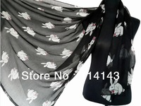 10pcs/lot Fashion Rabbit with Bow Bunny Animal Print Scarf Wrap Shawl Accessories Scarves, Free Shipping