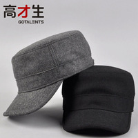 Hat male autumn and winter woolen black thickening male women's solid color cadet military cap hat
