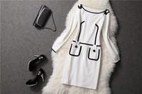 2014 Spring and winter dress greek goddess costume OL Slim 80s prom dresses women's large size white vintage long sleeve dress