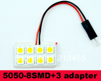 50sets Car 8 LED 5050 Dome Festoon Interior Bulb Map Light with T10 adapter & Festoon ba9s