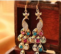 Free shipping (MIX order $10)  fashion  accessories delicate  rhinestone peacock vintage multicolor bohemian drill earring