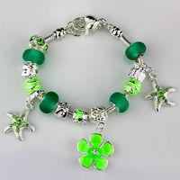 2014 New Fashion silver chaim Bracelets for Women&girl. Green crystal beads bracelets jewelry wholesale. free shipping