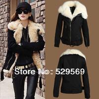 Free Shipping!New Fashion Cloth Fur Collar Long Sleeve Women Black Coat Overcoat