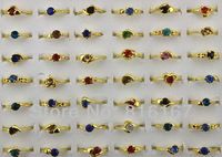 Fashion Jewelry Wholesale mixed lots 50pcs colourful rhinestone rings gold plated lady's rings w3339 Free shipping