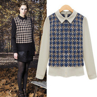Plaid Blouse Shirts Slim Plus Size 2014 Hot Sale Women Fashion Spring Autumn Chiffon Turn-down Collar  High quality Full 8065