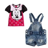 2014 baby girls clothes Lovely Minnie clothing sets Braces jeans suit 2 pcs,Children's clothes 5sets/lot hot  wholesale