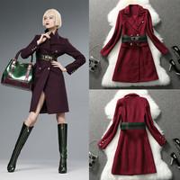 Fashion women's high quality custom windbreakers wool blend peacoat slim thickening outerwear women tailcoat overcoat,free ship