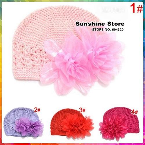 Sunshine store #3C2639 10 pcs/lot (4 colors)Handmade Beanies Knitted Cap chiffon Headwear Flower Girls Baby Crochet Hats CPAM(China (Mainland))