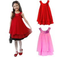 Hot 2014 New Retail Girl Dress Pleated Chiffon Roses Lined With Cotton Children's Clothing Free Shipping