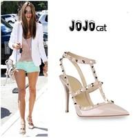 JOJO222-1 Free shipping women's 11cm high heel belt with rivets pumps the wedding summer shoes