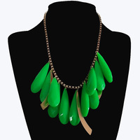 water drop Clearance mini order $10 yellow hot pink green resin women necklaces & pendant bib choke chunky necklaces