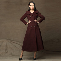 2013 winter new arrival ultra long woolen trench outerwear slim elegant large lapel double breasted cashmere wool coat