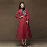 2013 winter women's elegant V-neck single breasted trench ultra slim long overcoat casual outerwear