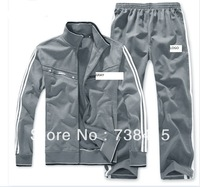 Free shipping newbrand men's sweater suit coat hooded cardigan casual  clothes thick fleece jacket +pants sports suit men