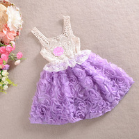 New 2014  Hot child vest tulle dress flower kids children summer clothing girls clothes kids tutu dress girl dress with flower