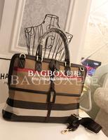 Free shipping  2014 autumn and winter women's handbag fashion british style plaid canvas handbag one shoulder big bag briefcase