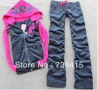 2013 brand hoodie sportwear Women Sports suits long sleeve Tracksuit sport Casual clothes 6 colors pink hoodie+ pants 2pcs set