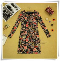 Vintage big 2013 fancy loose o-neck long-sleeve double one-piece casual dress