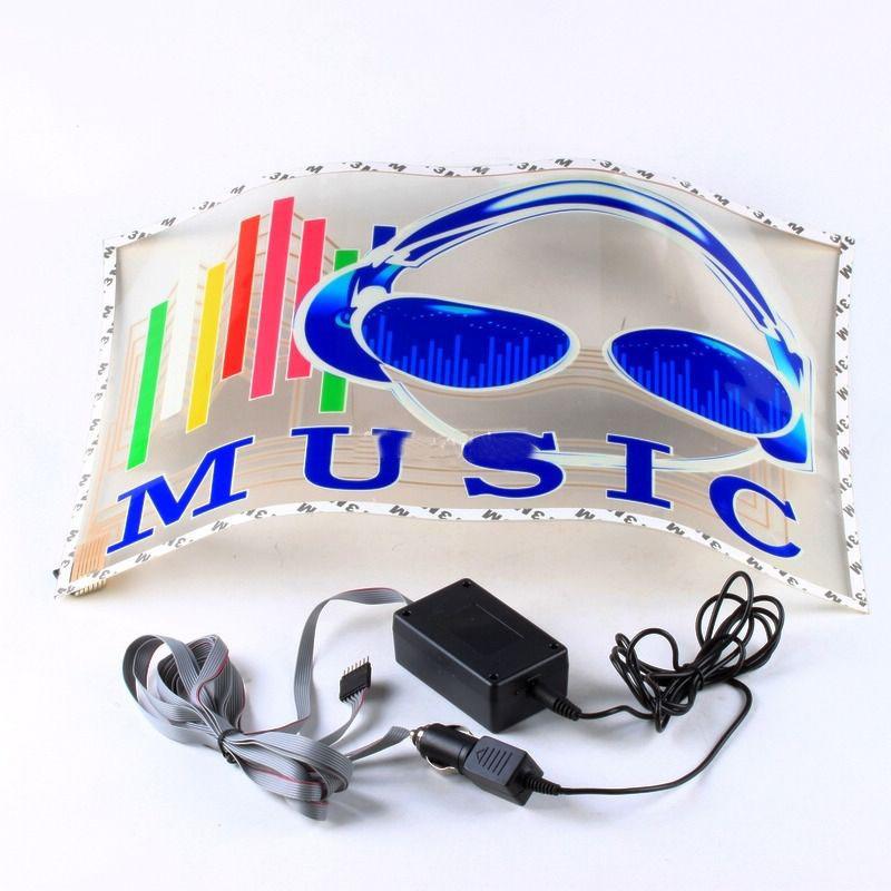 45x30cm Car Sticker LED EL Sound Activated Equalizer Glow Flash Panel Multi Colour Light Music Rhythm LED Flash Light Lamp 2 lot