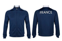 2014 Best Top Thailand Quality World Cup French National Team Black Jackets Top Men Footbal Sweatshirt Coat Free Shiping