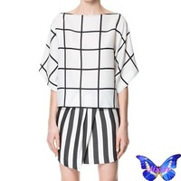 2014 European Style Brand New Bershka Women Chiffon Blouse Loose Bat Sleeve Black White Plaid Shirt Blusas Femininas