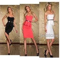2014 Elegant Women Sexy Fashion OL Peplum Long Knee-length Dress Party Bodycon European Style office Work Dresses With Belt 8985