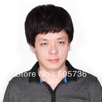 100% Real Natural Hair man wigs,100% human hair wigs,fit for asain man,full wig  short Gift cap