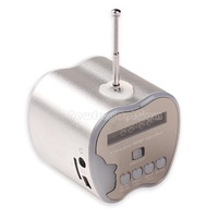 Portable Apple Shape Outdoor Stereo Speaker with TF Card Slot FM Silver NI5L