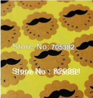 New kraft color Mustache Thank You Stickers Dia:3.8cm, Searl sticker (ss-01)