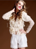 2014 new arrived puff sleeve V-neck long-sleeve ruffle shirt   sexy  cardigan wtih belt for women's  top XXL