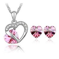 Austrian Crystals Heart In Heart Style Necklace Earrings