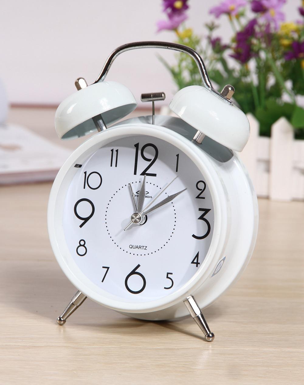 Vintage Metal White Retro Lovely Double Bell Alarm Clock