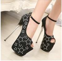 Free shipping  fashion pumps 2014 super beautiful temperament 19CM ultra high heels rhinestone fish head women shoes size(35-40)