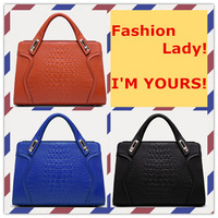 Free Shipping Women's Handbag 2014Ffashion Crocodile Pattern Fashion Cowhide Genuine Leather Handbags XQW256