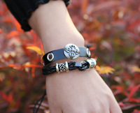 Free shipping 2014 New Arrival fashion Hot Sale vintage black wrap leather bracelets for women jewelry 12pc/lot