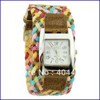 300pcs/lot fashion women dress watch korea rope watch braided wide belt leather strap rainbow quartz wristwatch