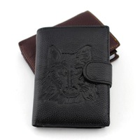 2014 Men High quality casual suction buckle PU wallet, Money Clips Eagle and Wolf pattern Free shipping
