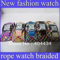 wide strap leather korea rope watch braided fashion women Rainbow knit watch 800pcs